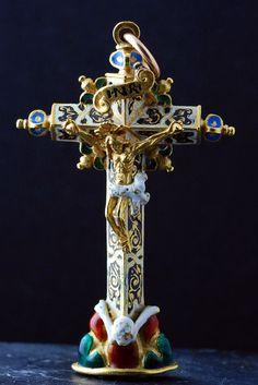 Croix pectorale d'époque Renaissance. - - Parfait état d'origine. Espagne ou Portugal, vers 1600