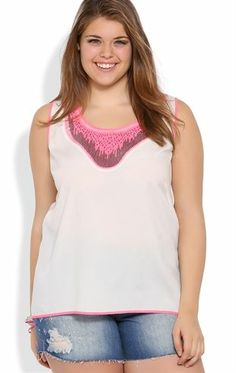 Deb Shops Plus Size Tank Top with Silver and Neon Sequin Neckline $12.99