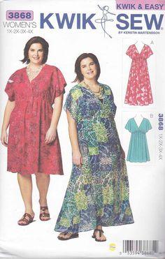 a1aeafbf71a Kwik Sew Sewing Pattern 3868 K3868 Women s Plus Size 1X-4X (22W-32W) Easy  Raised Waist Dress
