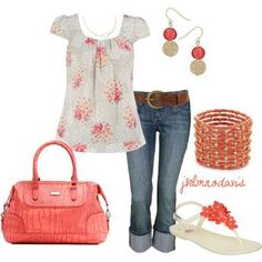 Love the coral smaller print and sleeves.  Wish the capris were a bit shorter.  Cute.