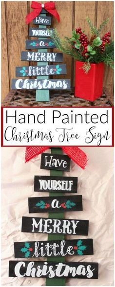 Turn a bare wood Christmas Tree from Hobby Lobby into a custom painted Christmas Tree Sign for your front porch this season! Turn a bare wood Christmas Tree from Hobby Lobby into a custom painted Christmas Tree Sign for your front porch this season! Diy Christmas Gifts, Rustic Christmas, Christmas Art, Christmas Projects, Winter Christmas, Holiday Crafts, Popsicle Stick Christmas Crafts, Christmas Ideas, Diy Christmas Decorations For Home