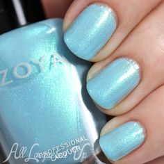 Zoya Rayne swatch - Spring 2015 via @alllacqueredup Zoya Rayne is a sky blue with turquoise flecks. The flash is more visible in this shade than the other two. It adds a high intensity sparkle to the overall look. For reference, the base is similar to Chanel Coco Blue, maybe a tad more green.