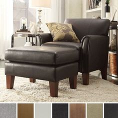 TRIBECCA HOME Uptown Modern Accent Chair and Ottoman - Free Shipping Today - Overstock.com - 16009233