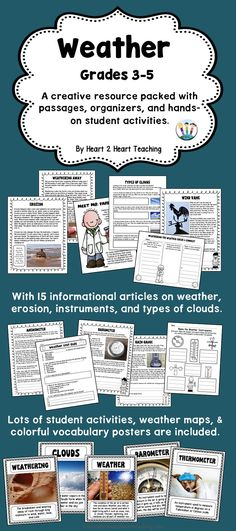 You will love this creative and interactive pack with information on erosion, forecasting, types of clouds, weather instruments, and meteorology all in one pack!