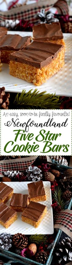Newfoundland Five Star Cookie Bars - A deliciously simple cookie bar which uses the most inexpensive ingredients; this traditional Newfoundland confection earns a five star rating every single time! Best Dessert Recipes, Easy Desserts, Cookie Recipes, Delicious Desserts, Yummy Food, Bar Recipes, Recipies, Rock Recipes, Holiday Desserts