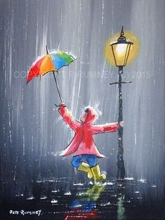 PETE RUMNEY FINE ART BUY ORIGINAL ACRYLIC PAINTING RAINSHOWER UMBRELLA COLOURFUL HAND PAINTED BY BRITISH ARTIST IN THE UK - ORIGINAL ART