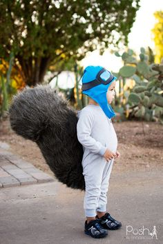 DIY Toddler Halloween Costume - Rocky the Flying Squirrel Halloween Costume, DIY Aviator Hat, DIY Squirrel Tail #diy #homemade #sewing | Posh In Progress