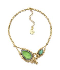 Acclaim to Fame Necklace: Green and gold necklace