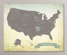 Personalized Vintage US Map art print / United by corkandbirchmaps, $20.00