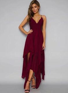 Burgundy Spaghetti Strap Sleeveless Asymmetrical Dress