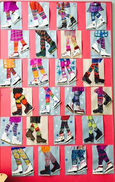 Winter Ice Skater Art Project for Kids. Use Popsicle sticks for the metal blade and yarn for lacing on the boot! Use stencil for ice skate. Winter Art Projects, School Art Projects, Art School, Art Patin, Art 2nd Grade, Club D'art, Classe D'art, January Art, December