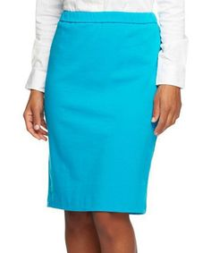 Another great find on #zulily! Turquoise Ponte Knit Slim Pencil Skirt - Plus Too #zulilyfinds