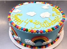 Rainbow birthday cake.