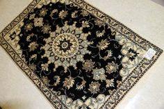 手織りラグマットのナイン産地ペルシャ絨毯メダリオン55045、ペルシャラグマットセール