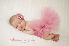 Sweet Vintage Pink Tutu Newborn Tutu Custom Made With Matching Vintage Style Flower Headband Stunning Newborn Photo Prop. $40.00, via Etsy.