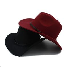 a0ef5e6682c CNBEAU Retro Wool Women Men Western Cowboy Hat For Gentleman Cowgirl Jazz  Church Cap With Leather