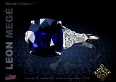 Classic five-stone ring featuring a cushion cut blue sapphire by Leon Mege.