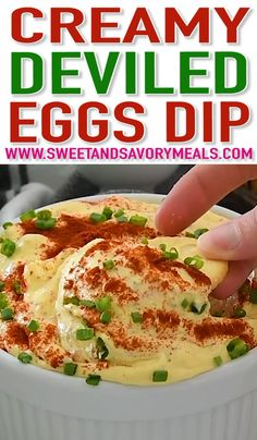 Dip Recipes 367465650850384066 - Deviled Eggs Dip with paprika and chives is a great way to use leftover eggs. Creamy, just a bit spicy, this is an easy and delicious appetizer. Yummy Appetizers, Appetizer Recipes, Appetizer Dips, Easter Recipes, Recipes Dinner, Recipes With Eggs, Cold Dip Recipes, Bean Dip Recipes, Seafood Appetizers