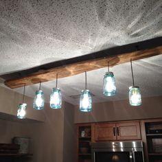 Mason jar ~ driftwood light