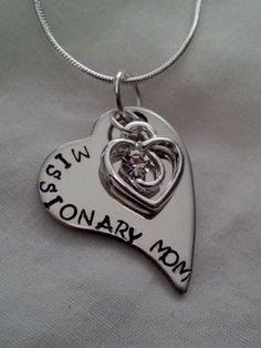 Custom Missionary Mom Hand Stamped Silver Heart Necklace With Rhinestone Heart Charm on Etsy, $11.99