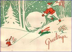 Scottie dog on a cute vintage Holiday card.