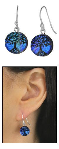 Dichroic Glass Tree Of Life Earrings at The Animal Rescue Site. I know what I want for my birthday!