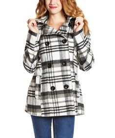 Love this Black & White Plaid Hooded Peacoat by INTL d.e.t.a.i.l.s. on #zulily! #zulilyfinds