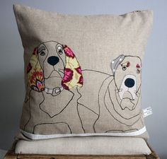 Applique Dog Cushion Customer order por NaughtyDOG2 en Etsy