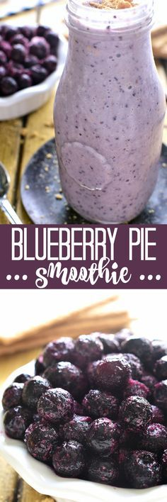 This Blueberry Pie Smoothie tastes just like blueberry pie....in a glass! Perfect for breakfast, snack, or a healthy treat!