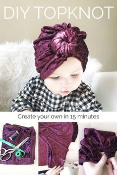 Diy baby turban tutorial ideas for 2019 Headband Bebe, Knotted Headband, Turban Headband Tutorial, Turban Headbands, Flower Headbands, Turban Hat, Couture Bb, Baby Sewing Projects, Sewing Ideas