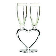 Hortense B. Hewitt Wedding Accessories Interlocking Heart Champagne Toasting Flutes, Set of 2 --- http://bizz.mx/goc