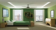 Well arranged green color #Bedroomdesign