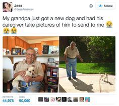 And this grandpa who's really happy about his new dog. | 17 Tweets That Prove Grandparents Are Actually The Best