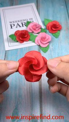 Paper Flowers Craft, Paper Crafts Origami, Diy Crafts For Gifts, Paper Crafts For Kids, Diy Arts And Crafts, Paper Roses, Flower Crafts, Diy Paper, Instruções Origami