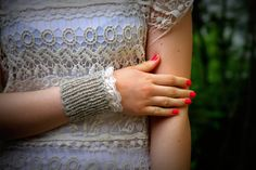 Wrist Warmers Cuffs Oatmeal Wool White Lace Warm by pureIceland