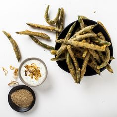 Tempura Green Beans with Mushroom Salt and Shallot Dip -- not what I normally cook or eat, but things like this are good to know how to make for parties