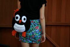 Joyful Penguin Large Crochet Backpack Crochet Backpack, Crochet Tote, Crochet Purses, Backpack Purse, Crochet Crafts, Tote Bag, Crochet Ideas, Yarn Projects, Knitting For Kids