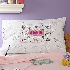 Totally did this when I was younger - Personalized Signature Slumber Party Pillowcase - 3932 Slumber Party Favors, Sleepover Birthday Parties, Pj Party, Party Time, Birthday Ideas, 9th Birthday, Personalized Pillow Cases, Personalized Gifts, Party Ideas
