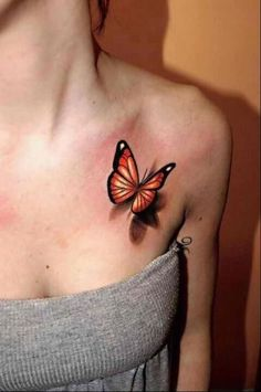 3D Butterfly Tattoo On Front Shoulder