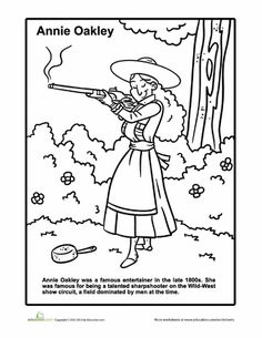 Worksheets: Annie Oakley Coloring Page