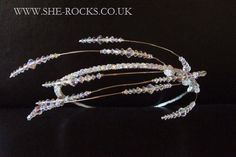 Designer bridal side tiara Sparkly Unusual Swarovski crystal feather tiara wedding headdress with Swarovski crystals AB crystal headband