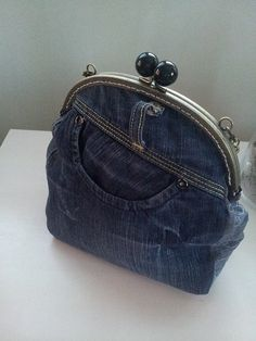Denim purse hand bag from recycled jeans clutch purse por KassiAlma