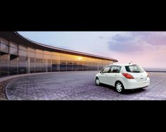 White Tiida in beautiful surroundings. City Car, Vehicles, Cars, Beautiful, Motorbikes, Autos, Car, Car, Vehicle