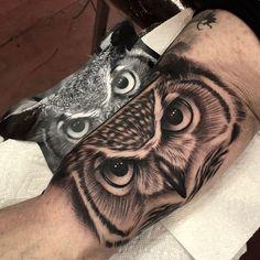 Owl Eye Tattoo, Owl Tattoo Drawings, Wolf Tattoo Sleeve, Sleeve Tattoos, Tribal Arm Tattoos, Eagle Tattoos, Forearm Tattoos, Body Art Tattoos, Realistic Owl Tattoo