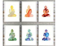 Buddha art Buddhas illustration - 6 prints in Chakra colors - Buddha watercolor painting - Silhouette art - meditation room - Yoga - Zen