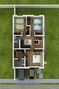 Planos de Casas y Plantas Arquitectónicas de Casas y Departamentos: Planos de casa de dos pisos y 8 metros de frente