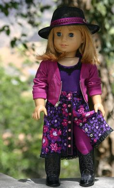 Raspberry-Grape Bomber Jacket, Floral Maxi Snap Front Skirt, Lacy-Tank, Leggings and Fedora by Doll Closet Heirlooms on Etsy, $105.00
