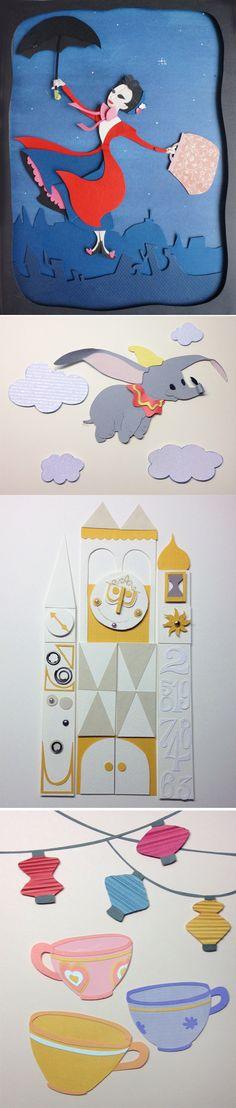 Various Disney Paper Art