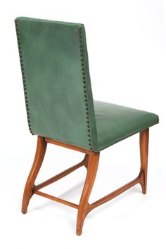 Harry Schwartz; Oak, Leather and Brass Side Chair for Romweber, 1950s.