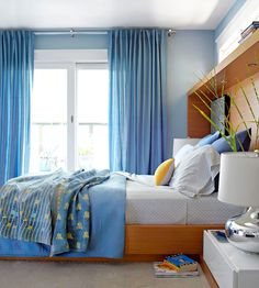 Cool blues and not a lot of patterns make a soothing sleeping space: http://www.bhg.com/decorating/small-spaces/strategies/space-solution-every-room/?socsrc=bhgpin011014coolblues&page=15